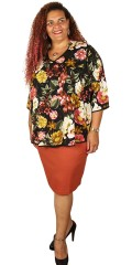 Gozzip - Flowery viscose blouse with 3/4 sleeves and nice v cutting in good a-shaped