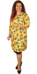 Juna Rose - Jossi kjole med 3/4 ermer i super flott trykk, samt slisse i nakken og ermene