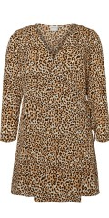 JUNAROSE - Leopard wrap around wrap dress with long sleeves in hard fabric