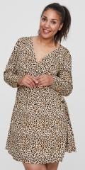 Juna Rose - Leopard slå-om wrap kjole med lange ermer i hard stoff