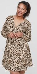 JUNAROSE - Leopard slå-om wrap kjole med lange ermer i hard stoff