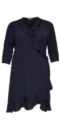 ONLY Carmakoma - Smart wrap around wrap dress with flounce edge and 3/4 sleeves