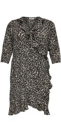 ONLY Carmakoma - Wrap dress wrap around dress with 3/4 sleeves in nice animals print