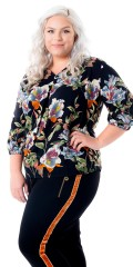 Cassiopeia - Hariet blouse with v cutting, 3/4 sleeves and nice flowers