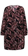 Zhenzi - Slå-om wrap kjole med lange ermer og bindebånd