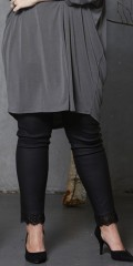 Zhenzi - Coated leggings with lace edge at the bottom and super stretch and rubber band in whole the waist