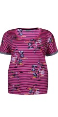 Zhenzi - T-shirt with stripes and floral print, fine narrow sports rib in the sleeve