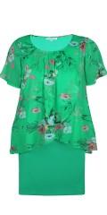 Zhenzi - Chiffon klänning med fast påsydd underklänning