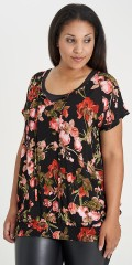 Studio Clothing - Flowery blouse with short wing sleeves and round neck which are closed with tie string
