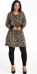 Studio Clothing - Shirt dress in smart pattern with v cutting and long sleeves with rib edge