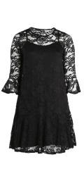 Zoey - Trevlig spets klänning med volang kant i ärmar och under