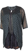 Cassiopeia - Oline kimono in fine spotted chiffon with 1/2 sleeves