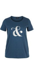 Zizzi - T-shirt with short sleeves and round neck, also print