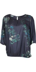 Cassiopeia - Husti blouse with nice print, 3/4 sleeves and round neck also hole tie at sleeves