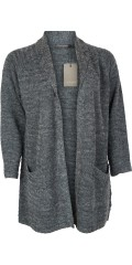 Cassiopeia - Karina long cardigan in nice mottled knit with collar and pockets