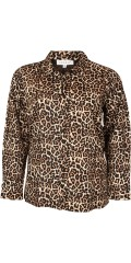 Zhenzi - All-buttoned leopard shirt with long sleeves