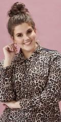 Zhenzi - Durchgeknöpft Leoparde Hemd mit lange Ärmeln