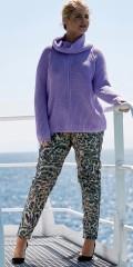 Zoey - Pennie byxor med streck och delvis gummiband i midjan