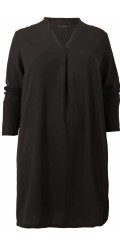 Cassiopeia - Ruth long closed chiffon shirt with v cutting and nice pleat front