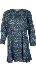 Zhenzi - Nice dress in blue animal print, hard fabric with flounce at the bottom
