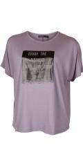 Cassiopeia - Fillis T-Shirt mit kurze Flügel Ärmeln und schwarz Druck