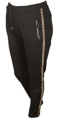 Cassiopeia - Siggi 7/8 strechy pants with leopard stripe, rubber band and line in the waist