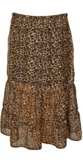 Cassiopeia - Laya long leopard flounce skirt with rubber band in whole the waist and sewn short viskose skirt