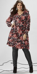 Zhenzi - Smart flowery wrap around dress in hard fabric with long sleeves with smock rib
