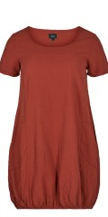 Zizzi - Summer dress with short sleeves and 2 pockets, ends with rubber band at the bottom