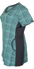 Handberg - Tunica in although turquoise patterned fabric with stretch