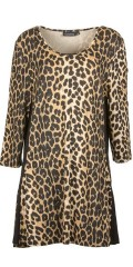 Handberg - Leopard tunica with round neck and 3/4 sleeves
