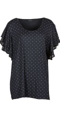 Handberg - Super sweet blouse with dots and short sleeves with chiffon flounces