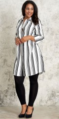 Studio Clothing - Fine all-buttoned striped shirt dress with 3/4 sleeves in hard fabric