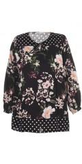 Studio Clothing - Skjortebluse med fin halsudskæring med bindebånd og 3/4 ærmer i fast stof
