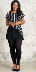 Studio Clothing - Striped top in strechy material with contrast