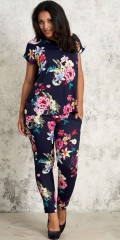 Studio Clothing - Byxor med smock i midjan i vacker blomstrad fast tyg