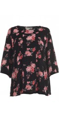 Gozzip - Flowery blouse with 3/4 sleeves and pleat front and in the back