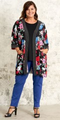 Gozzip - Open kimono with 3/4 sleeves and 2 pockets in super smart flowery pattern