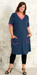 Gozzip - Dress with bombs and fresh pink tie at v cutting, pockets and the sleeves