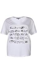 Zhenzi - T-shirt med smart trykk og v-hals