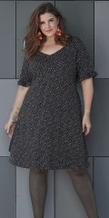 Zhenzi - Stylish strechy dress with 2/4 sleeves and v cutting