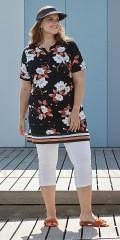 Zhenzi - Tunika klänning med smart randar under, blomstrad strechy material