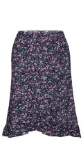 Zhenzi - Nice flowery skirt in hard fabric with fake wrap flounce. Rubber band in the waist