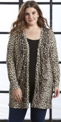 Zhenzi - All-buttoned cardigan/shirt in strechy animal print