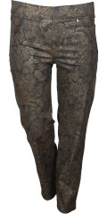 Robell - Rose strechy 7/8 pants with wide rubber band in the waist in nice metallic paisley print