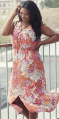 Adia Fashion - Flott lang maksi kjole i hard stoff med v-hals foran og bak