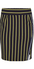 Adia Fashion - Nice navy skirt with yellow stripes and sports rib. Sewn in nice  rib