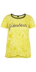 Adia Fashion - Smart transparent t-shirt mit präge muster, druck und stricken in kontrastfarbe
