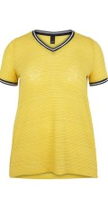 Adia Fashion - T-Shirt in transparent Material mit Streifen in Gold Glitzer. Sports Rippen