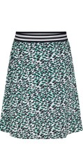 Knælang nederdel i fast stof med skørt og bred stribet elastik i taljen